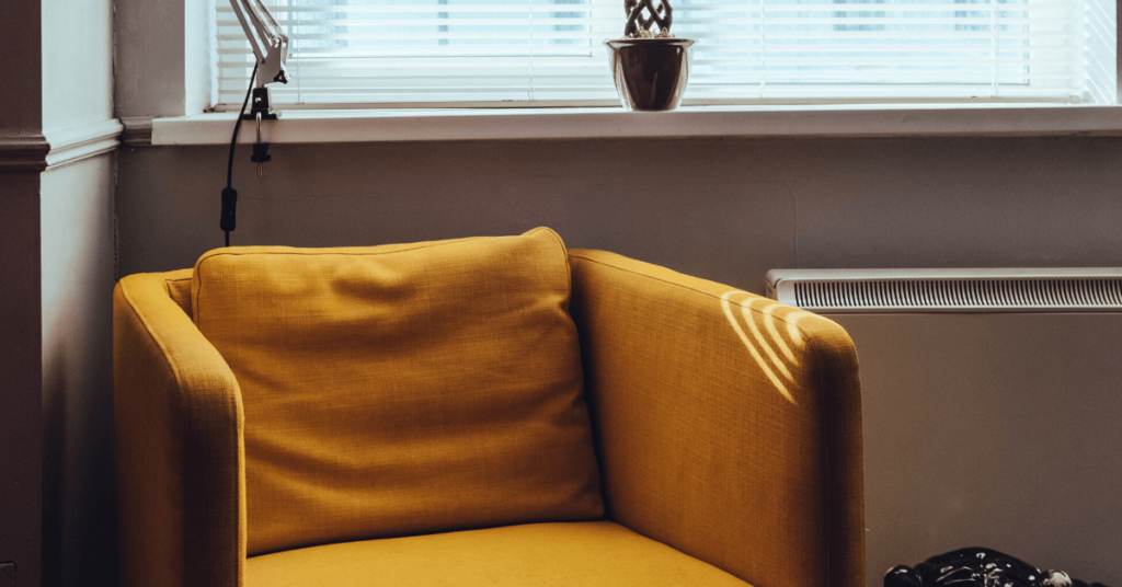 empty mustard chair lounge