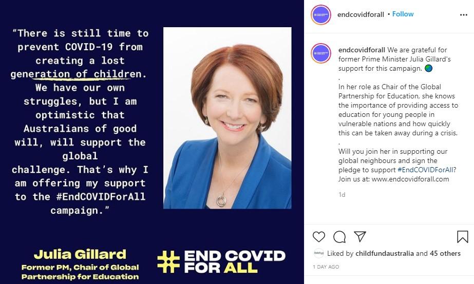 Julia Gillard Instagram post