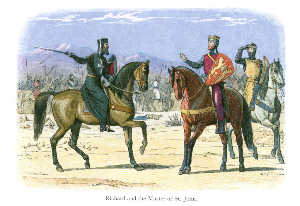 Vintage colour engraving from 1864 showing King Richard the Lionheart talking with the Leader of the Knights of St John