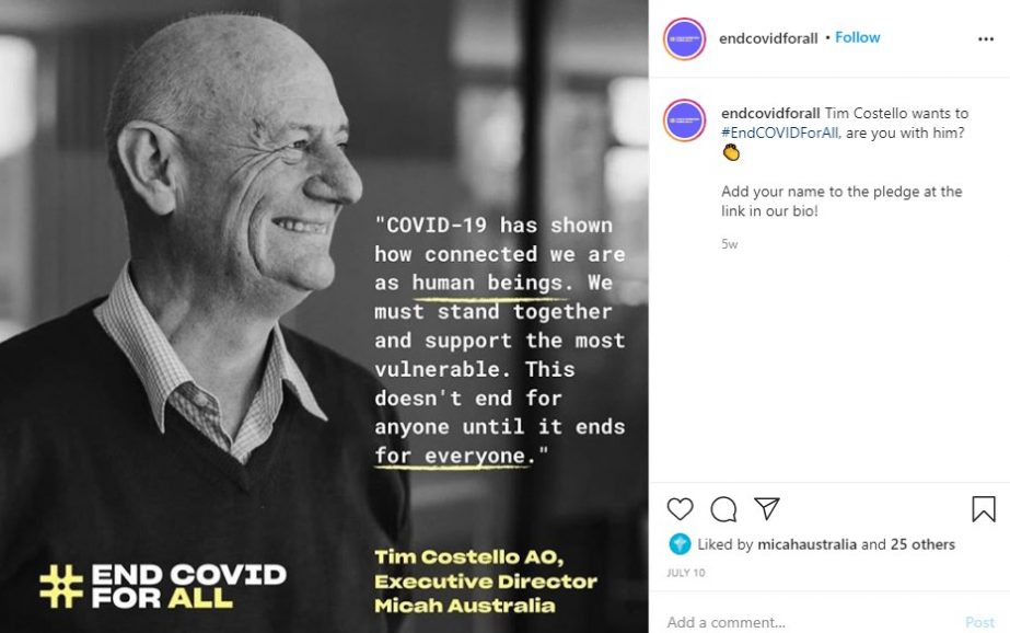 Tim Costello Instagram Post
