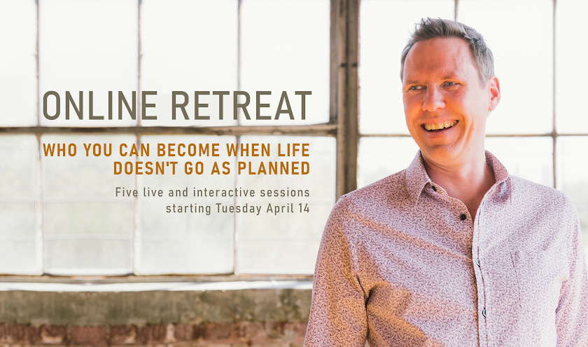 a photo of sheridan voysey and text which says Online Retreat. Who you can become when life doesn't go as planned. 5 live and interactive sessions starting tuesday 14 April