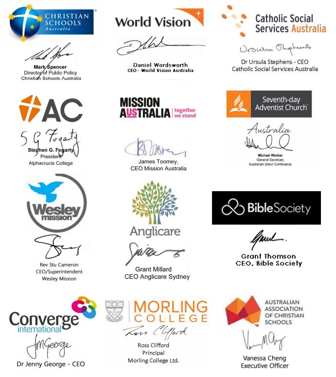 signatories of organisations