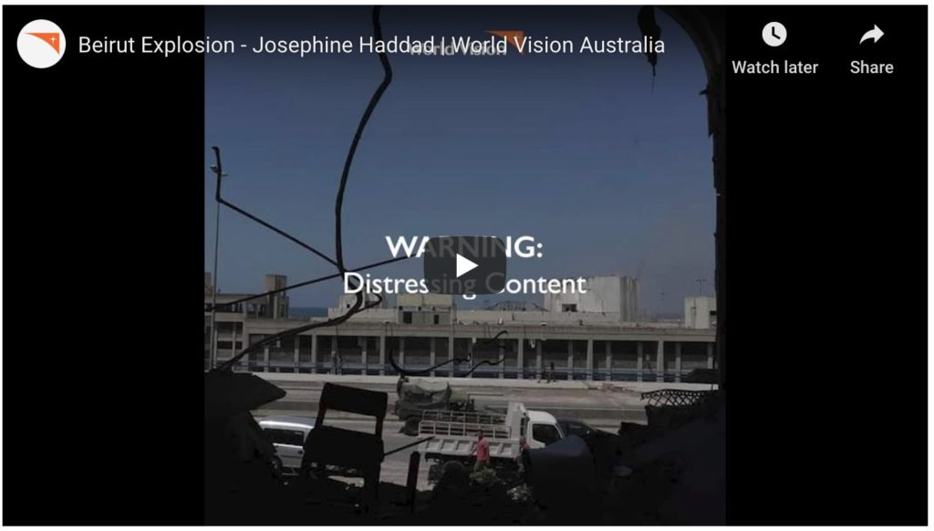 beirut explosion, josephine hadad, world vision youtube video
